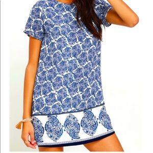 Lulu's Blue Paisley Print Shift Dress